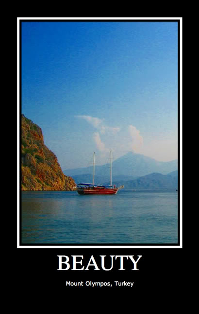Mount Olympos, Turkey; Photo: C.C. 1.0 Share Alike License; Poster by MP